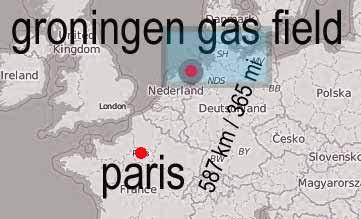 map of groningen gas field with paris indicated. Distance: 587 km / 365 mi