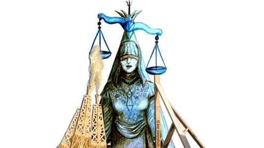 vrouwe justitia met onder de ene schaal een aantal stutten en onder de andere schaal een aantal gasvlammen