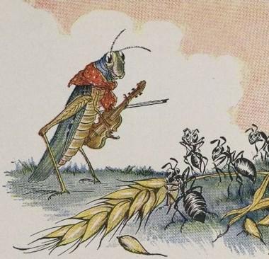 Een tekening van een krekel met een viool en een mier die druk is met het verzamelen van voedsel.