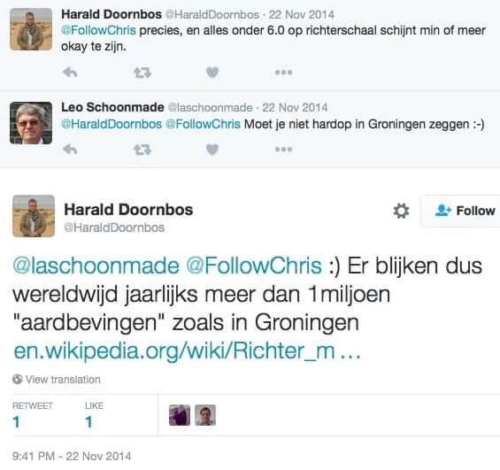 Harald Doornbos, een journalist, doet neerbuigend over de aardbevingen in Groningen