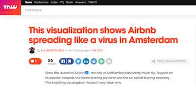 screenshot saying This visualisation shows Airbnb spreading like a virus in Amsterdam